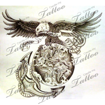 Usmc Tattoos on Marketplace Tattoo Usmc Eagle Anchor Globe Createmytattoocom