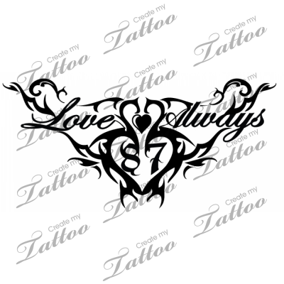 create a tattoo design on Design 5 95 Tattoo Tribal Love Always Double Heart Size