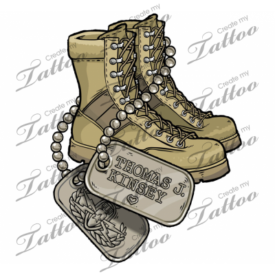 Tattoo Ideas on Supporting My Husband Tan Boots And Dog Tags Createmytattoocom