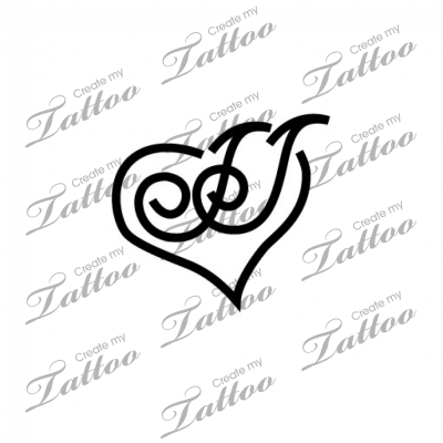 Tatto Letering on Intertwined Letter Japoss Within A Heart