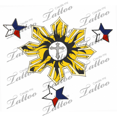 Flag 3 Stars And Sun With Maybe Some Tribal Design Color